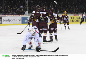 but 2-0 : déception HAAPALA (LUGA) - joie WINNIK - MERCIER - VOELLMIN - RICHARD (GS) 5.1.2019 , Genève-Servette - Lugano  GS-LUGAphoto Eric Lafargue