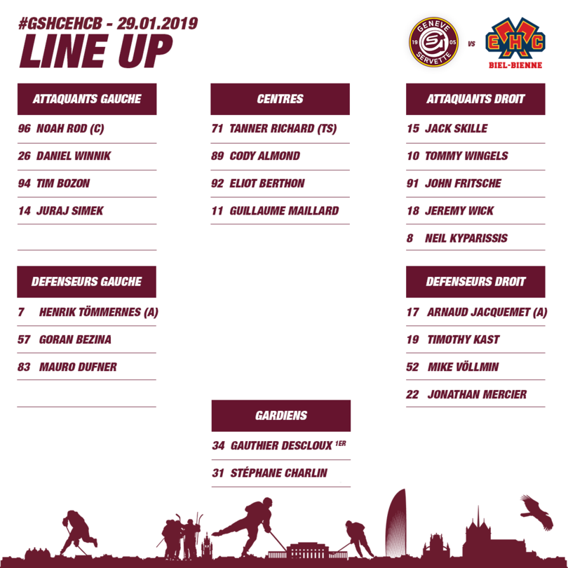 GSHC vs EHC Bienne - Line up