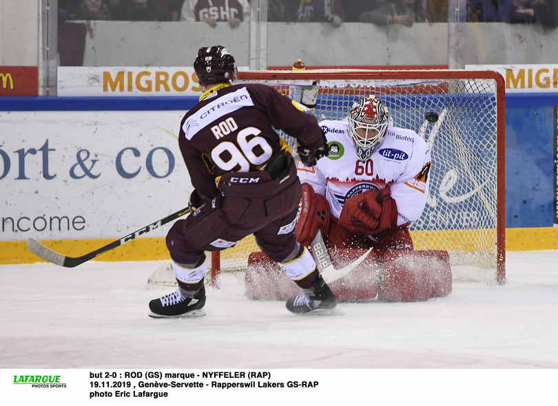 but 2-0 : ROD (GS) marque - NYFFELER (RAP)  19.11.2019 , Genève-Servette - Rapperswil Lakers GS-RAP  photo Eric Lafargue