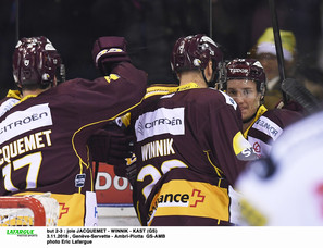 but 2-3 : joie JACQUEMET - WINNIK - KAST (GS)  3.11.2018 , Genève-Servette - Ambrì-Piotta  GS-AMB photo Eric Lafargue