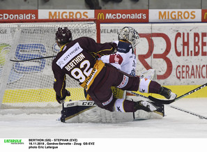 BERTHON (GS) - STEPHAN (EVZ)   16.11.2018 , Genève-Servette - Zoug  GS-EVZ photo Eric Lafargue